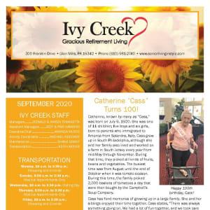 September newsletter at Ivy Creek Gracious Retirement Living in Glen Mills, Pennsylvania