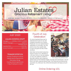 July Julian Estates Gracious Retirement Living Newsletter