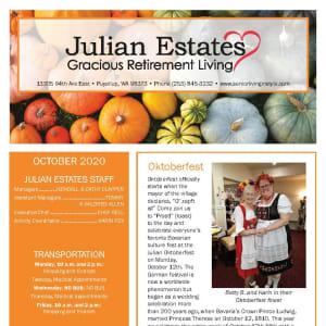 October newsletter at Julian Estates Gracious Retirement Living in Puyallup, Washington