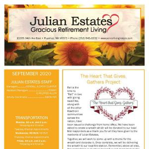 September newsletter at Julian Estates Gracious Retirement Living in Puyallup, Washington