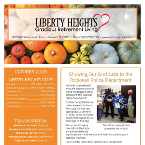 October newsletter at Liberty Heights Gracious Retirement Living in Rockwall, Texas