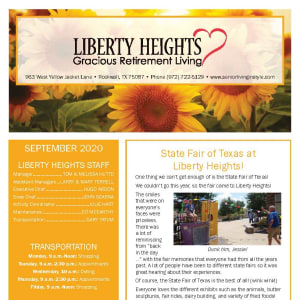 September newsletter at Liberty Heights Gracious Retirement Living in Rockwall, Texas
