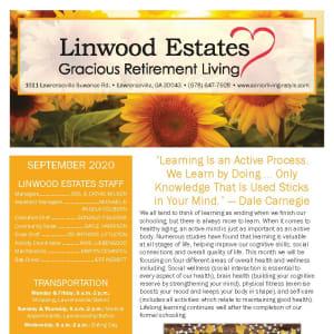 September newsletter at Linwood Estates Gracious Retirement Living in Lawrenceville, Georgia