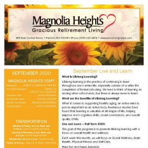 September newsletter at Magnolia Heights Gracious Retirement Living in Franklin, Massachusetts