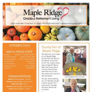 October newsletter at Maple Ridge Gracious Retirement Living in Cedar Park, Texas