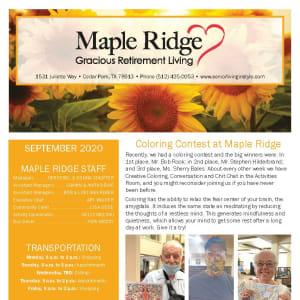 September newsletter at Maple Ridge Gracious Retirement Living in Cedar Park, Texas