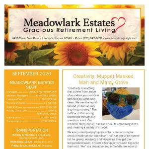 September newsletter at Meadowlark Estates Gracious Retirement Living in Lawrence, Kansas