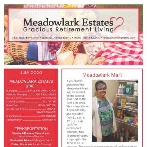 July Meadowlark Estates Gracious Retirement Living Newsletter