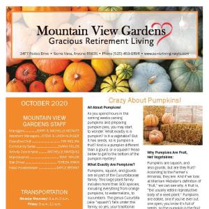 October newsletter at Mountain View Gardens in Sierra Vista, Arizona
