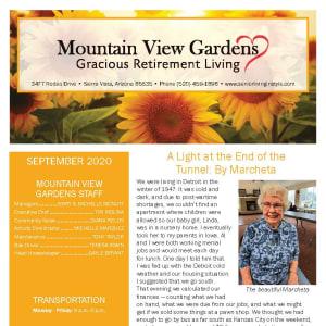 September newsletter at Mountain View Gardens in Sierra Vista, Arizona