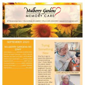 September newsletter at Mulberry Gardens Memory Care in Munroe Falls, Ohio