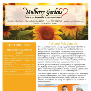 September newsletter at Mulberry Gardens Assisted Living in Munroe Falls, Ohio