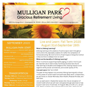 September newsletter at Mulligan Park Gracious Retirement Living in Tallahassee, Florida