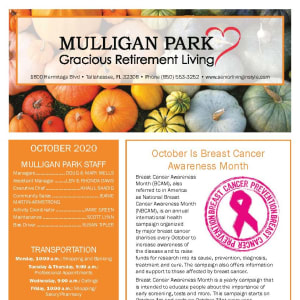 October newsletter at Mulligan Park Gracious Retirement Living in Tallahassee, Florida