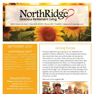 September newsletter at Northridge Gracious Retirement Living in Fishers, Indiana
