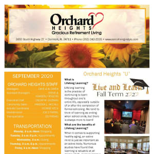 September newsletter at Orchard Heights Gracious Retirement Living in Clermont, Florida