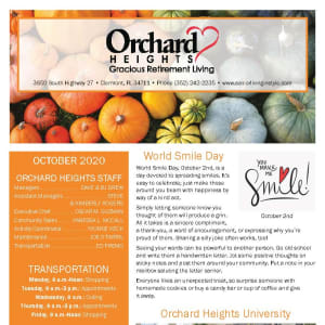 October newsletter at Orchard Heights Gracious Retirement Living in Clermont, Florida