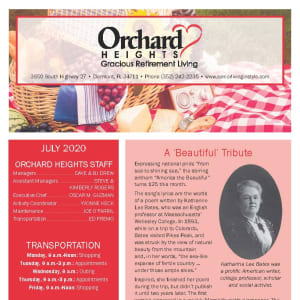 July Orchard Heights Gracious Retirement Living Newsletter