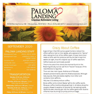 September newsletter at Paloma Landing Retirement Community in Albuquerque, New Mexico