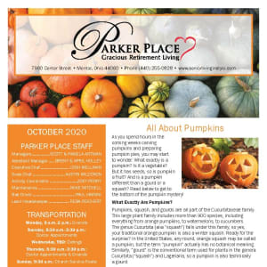 October newsletter at Parker Place in Mentor, Ohio