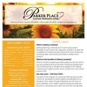 September newsletter at Parker Place in Mentor, Ohio