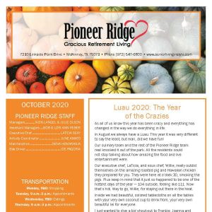 October newsletter at Pioneer Ridge Gracious Retirement Living in McKinney, Texas