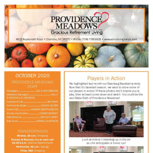 October newsletter at Providence Meadows Gracious Retirement Living in Charlotte, North Carolina
