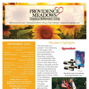 September newsletter at Providence Meadows Gracious Retirement Living in Charlotte, North Carolina