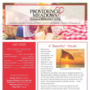 July Providence Meadows Gracious Retirement Living Newsletter