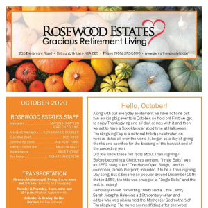 October newsletter at Rosewood Estates in Cobourg, Ontario