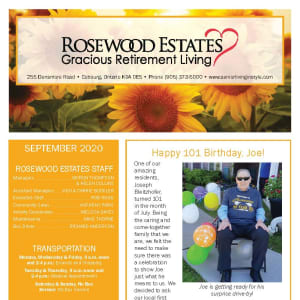 September newsletter at Rosewood Estates in Cobourg, Ontario