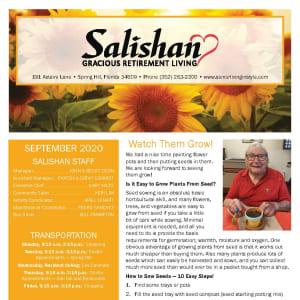 September newsletter at Salishan Gracious Retirement Living in Spring Hill, Florida