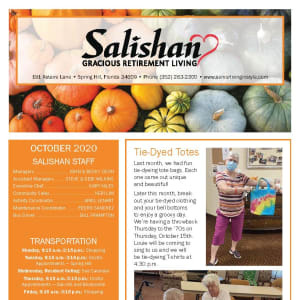 October newsletter at Salishan Gracious Retirement Living in Spring Hill, Florida
