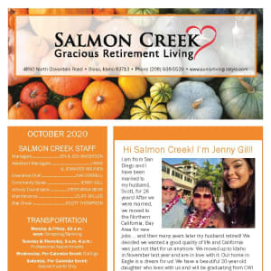 October newsletter at Salmon Creek in Boise, Idaho