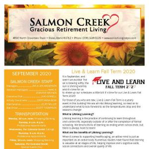 September newsletter at Salmon Creek in Boise, Idaho