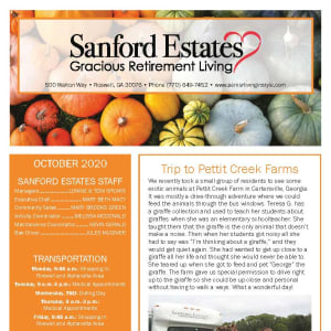 October newsletter at Sanford Estates Gracious Retirement Living in Roswell, Georgia