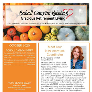 October newsletter at Scholl Canyon Estates in Glendale, California