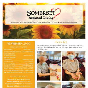 September newsletter at Somerset Assisted Living in Gladstone, Oregon