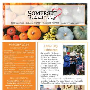 October newsletter at Somerset Assisted Living in Gladstone, Oregon