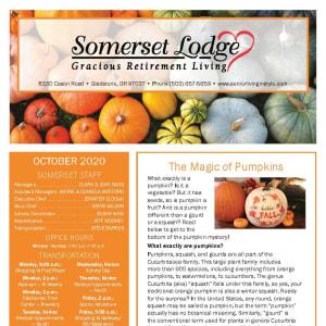 October newsletter at Somerset Lodge in Gladstone, Oregon