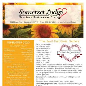 September newsletter at Somerset Lodge in Gladstone, Oregon