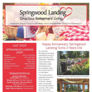 July Springwood Landing Gracious Retirement Living Newsletter