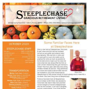October newsletter at Steeplechase Retirement Residence in Oxford, Florida