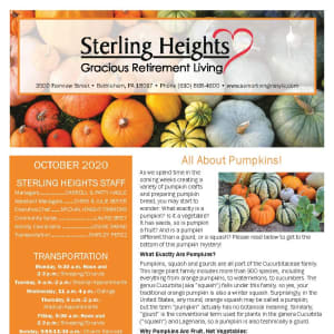 October newsletter at Sterling Heights Gracious Retirement Living in Bethlehem, Pennsylvania