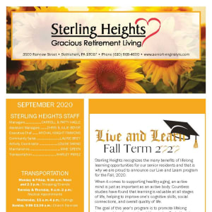 September newsletter at Sterling Heights Gracious Retirement Living in Bethlehem, Pennsylvania