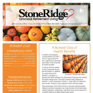 October newsletter at Stoneridge Gracious Retirement Living in Cary, North Carolina