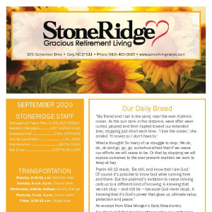 September newsletter at Stoneridge Gracious Retirement Living in Cary, North Carolina