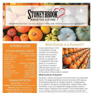 October newsletter at Stoneybrook Assisted Living in Corvallis, Oregon