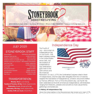 July Stoneybrook Assisted Living Newsletter