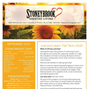 September newsletter at Stoneybrook Assisted Living in Corvallis, Oregon